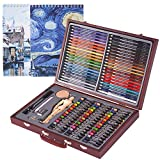 COOL BANK 93 Piece Deluxe Art Set with 2 x 50 Page Drawing Pad, Art Set in Portable Wooden Case-Painting & Drawing Set for Kids, Teens and Adults