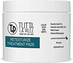 2% Glycolic Acid 2% Salicylic Acid Pads Acne Treatment - Mild Strength for Sensitive Skin - Witch Hazel Pads - Acne Solutions - For Facial Exfoliating and Smoother Looking Skin, 60 Face Pads