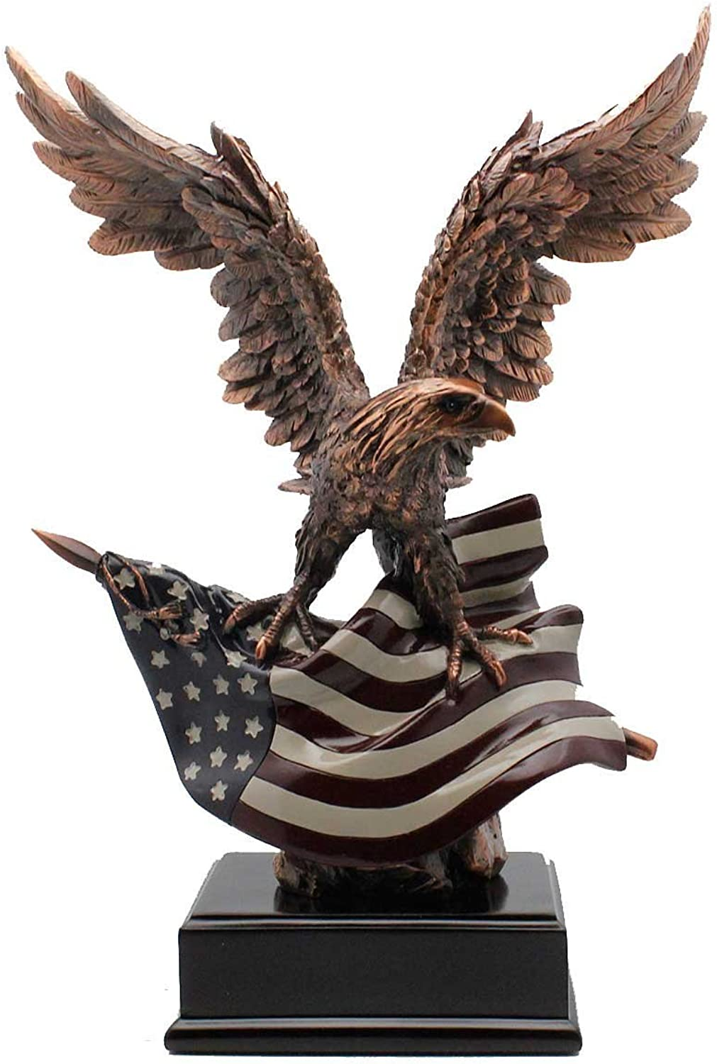 12  American Bald Eagle Perched Atop the American Flag
