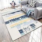 WQ-BBB Respetuoso del Medio Ambiente Estilo Abstracto Alfombra Comedor sin Pelo Degradado Azul Amarillo Blanco Gris alfombraspara Mesa Salon Pasillo jarapas 160X200cm