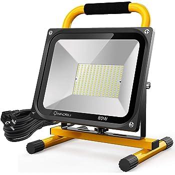 Montage mural ou sur un support Equivalent /à 280W halog/ène| 4800 lumens jaune Brandson 120/° faisceau lumineux IP65 6400K Projecteur de chantier /à LED 50W