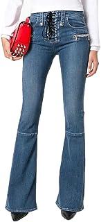 WanYang Donna Primavera Autunno Casual Jeans Zampa Elefante Vita Alta Baggy Stretch Larghi A Palazzo Jeans
