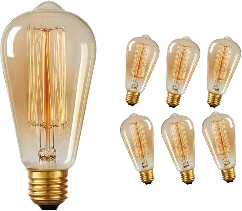 Edison Vintage Glühbirne, Massway E27 40W dimmbar Antike Retro Filament Lampe ST64, Ideal für Nostalgie und Retro Beleuchtung im Haus Café Bar usw - 6 Stück