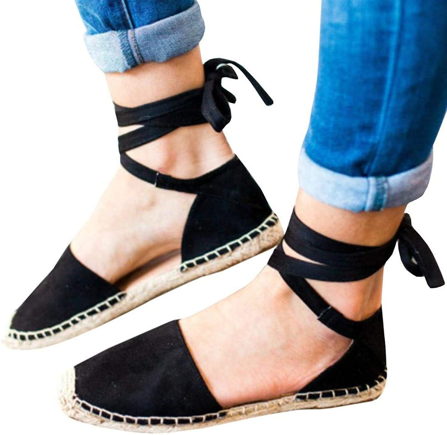 New Summer Sandals Ankle Strap Beach Sandals shoes for Women Comfortable Summer Sandals Black Flats