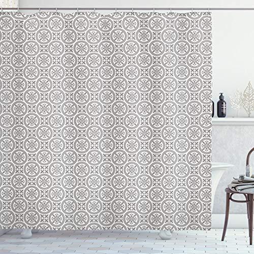 ABAKUHAUS Grau & Weiß Duschvorhang, Antikes Mosaik, mit 12 Ringe Set Wasserdicht Stielvoll Modern Farbfest & Schimmel Resistent, 175x220 cm, Weiß Grau