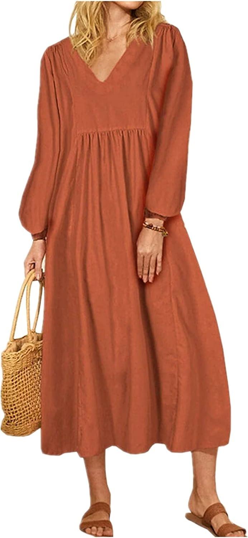 Hemlock Women Long Sleeve Dress V Neck Solid Color Maxi Dress Loose Casual Dresses