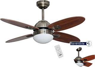 bastilipo Ventilateur de plafond avec télécommande E27, 60W, bronze vieilli, 105x 41cm
