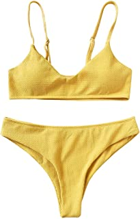 ce56947f26 ZAFUL Bikini Femme Maillot de Bain Femme 2 pièces Haut Coupe Bikini Push Up  Triangle Swimwear