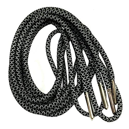 120cm Long Men's Round 3M Reflective Shoealces Black with Silver Head