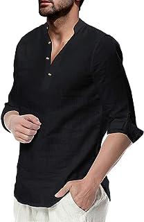 Fueri Mens Grandad Shirt Long Sleeve Shirt Casual Linen Cotton Henley Shirt Summer Lightweight Tops