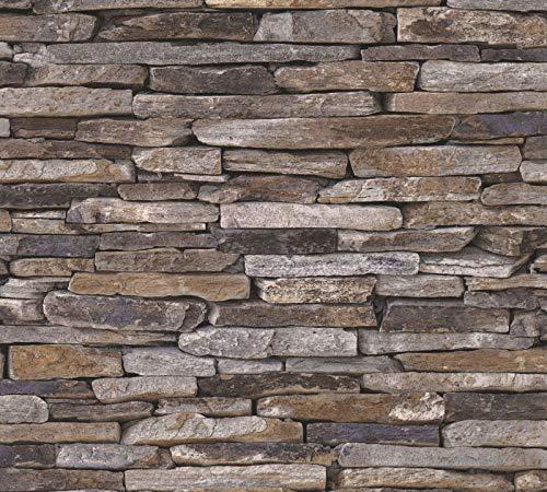 AS Creation Holz Stein Schiefer Natur Stein Foto Tapete - Braun 914217
