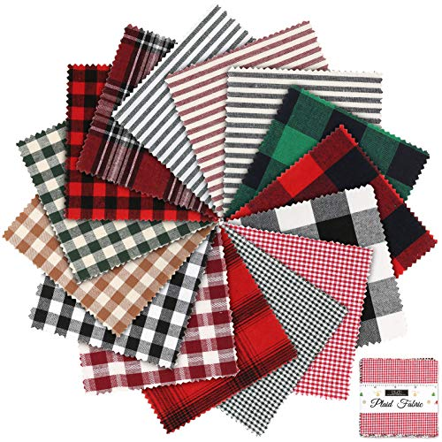 Caydo 30 Pieces Plaid Fabric Christmas Fabric Squares Lodge Charm Pack, 5 Inch 15 Prints Polyester Christmas Cotton Fabric for DIY Christmas Crafts