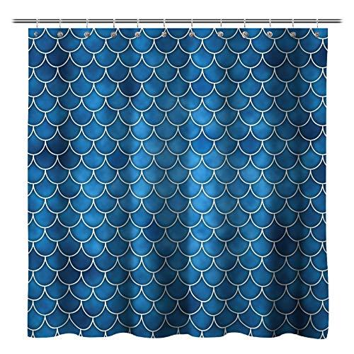 Sunlit Designer Duschvorhang Fischschuppen Meerjungfrauenschwanz geometrisch wasserabweisend Stoff Ocean Thema Märchen Badezimmer Dekor Blau
