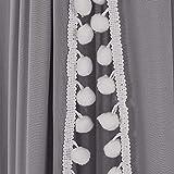 Tyhbelle Baby Baldachin Betthimmel Kinder Babys Bett Baumwolle Hängende Moskiton für Schlafzimmer Ankleidezimmer Spiel Lesen Zeit Höhe 230 cm Saumlänge 270cm (Grau mit Bommeln) - 7