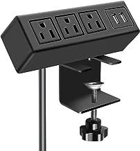 3 Outlet Desk Clamp Power Strip, Desk Mount USB Charging Power Station, Removable Desktop Power Center Plugs Output 125V 60HZ 12A 1500W, USB 5V 2.1A 6.56FT Cable