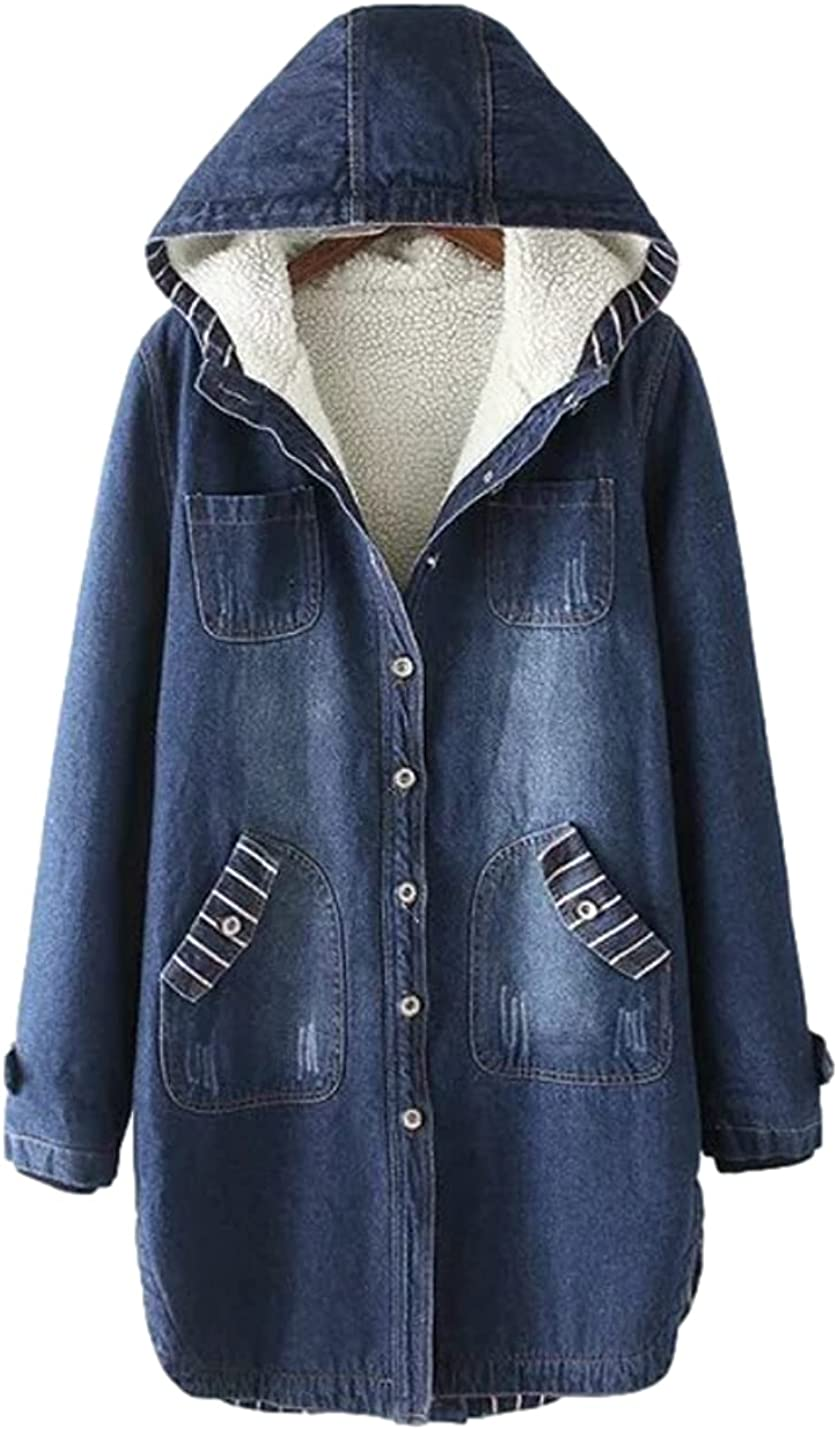 Bnigung Women's Winter Sherpa Fleece Lined Hooded Denim Jacket Midi Long Loose Warm Jean Overcoat