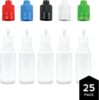 10ml PE Unicorn Pen Plastic Bottle with Child Resistant Tamper Evident Cap (25 Pack) Multicolor, Black Blue Green Red White