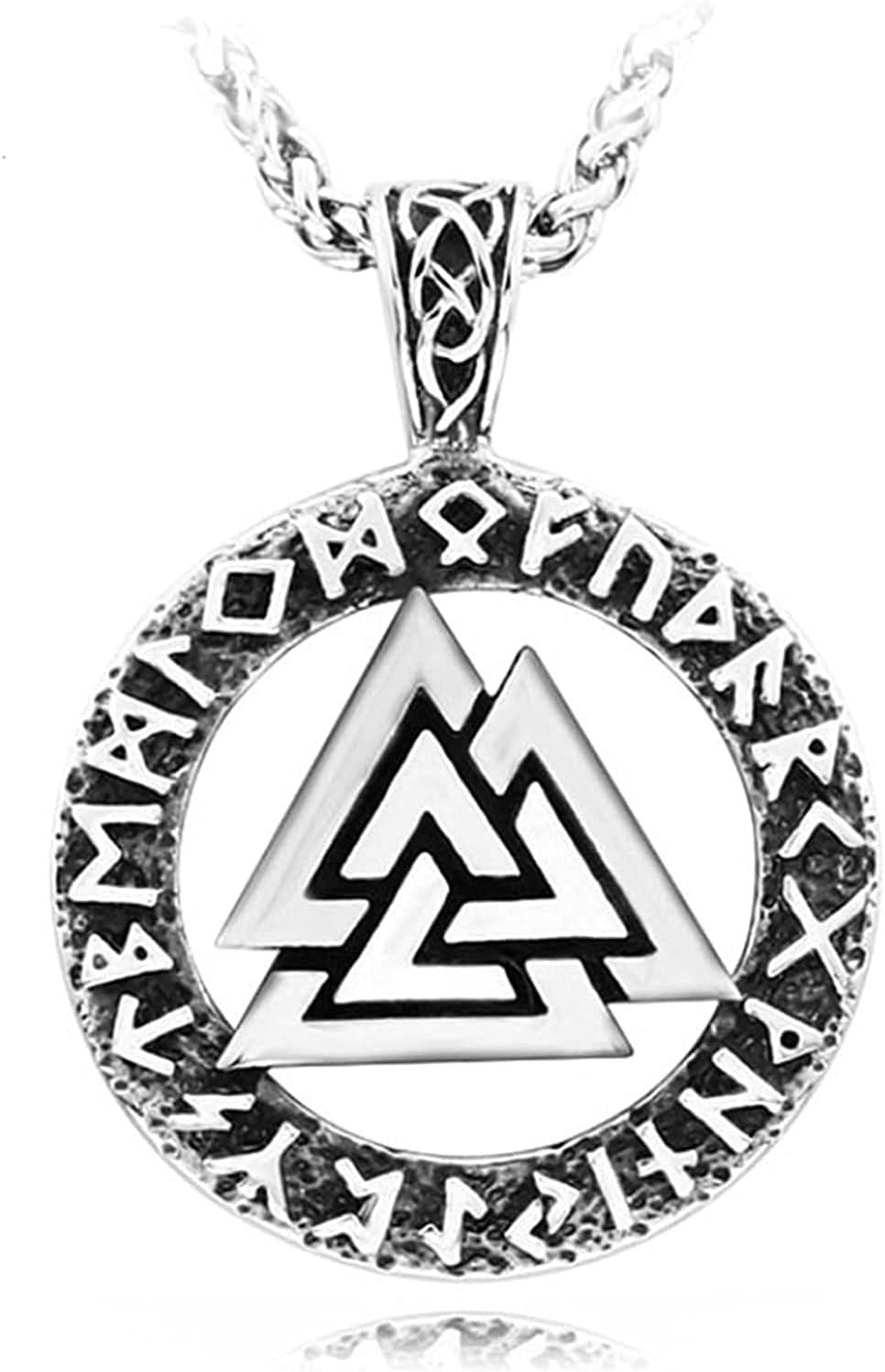 AMOZ Collar Colgante de Acero Inoxidable Símbolo de Runa Collar Amuleto para Hombres Mujeres Charm Joyas de Estilo de la Edad Media (Color: Plata, Tamaño: 60Cm),Plata,Los 60Cm