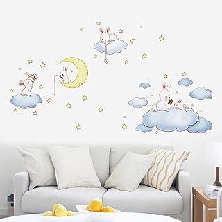 Nubes blancas de dibujos animados Conejo Pegatinas de pared para habitaciones de niños Dormitorio bebé Wereldkaart Decoración para el hogar Luna y las estrellas Vinilos decorativos