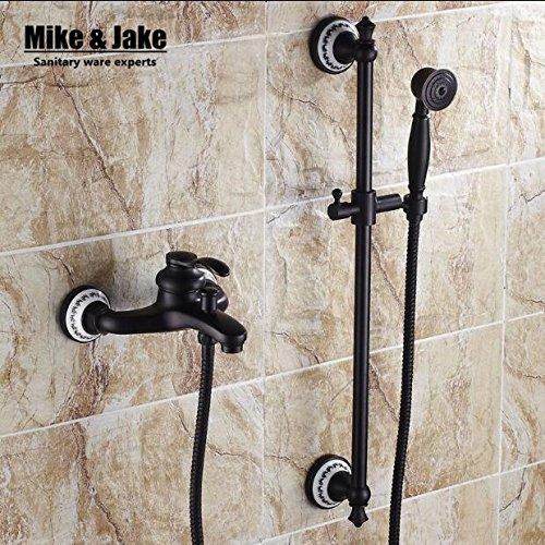 Luxurious shower Badezimmer schwarze Wand Mischbatterie Dusche mit Lifter Dusche Bad einfache Badewanne Mixer mit Hand set Dusche schwarze orb Dusche gesetzt, Stil 1.