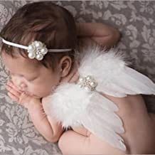 Baby Cute Feder Engel Fee Flügel Fotografie Kostüm Prop Foto Prop mit Elastic Perle Strass Blume Haarband Set für Mädchen Weiß