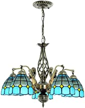Retro Mediterranean Stained Glass Chandelier for Living Room, Multi-Arm Tiffany Style Vintage Hanging Lamp for Bedroom Din...