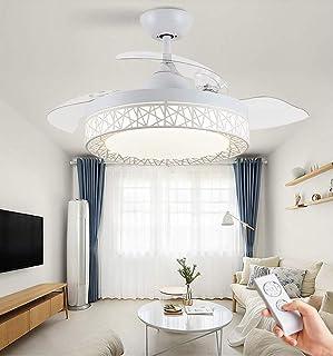 JDDSA Regulable LED Luz del Ventilador de Techo con Lámpara y Control Remoto, Alas Plegables Lámparas de Techo Abatibles Retráctiles Modernas, Velocidad del Viento Ajustable (Blanco Elegante)