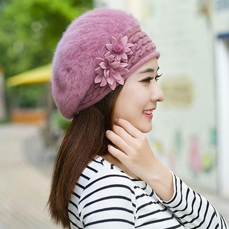 Women Berets Winter Warm Knit Hat Wool Snow Ski Caps with Visor Thick Warm
