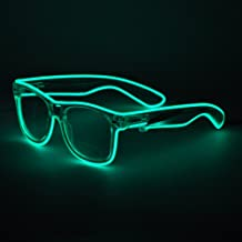 Sydnus EL Wire Rave Sunglasses LED Light Up Party Glasses(Green)