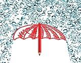 WOTAKA Kits de pintura de diamantes, Concepto de arte. Dibujo de paraguas con lápiz rojo bajo las gotas de agua, para adultos Full Drill Canvas Patterns Arts Home Wall Decor (16' *20')