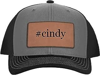 One Legging it Around #Cindy - Leather Hashtag Dark Brown Patch Engraved Trucker Hat