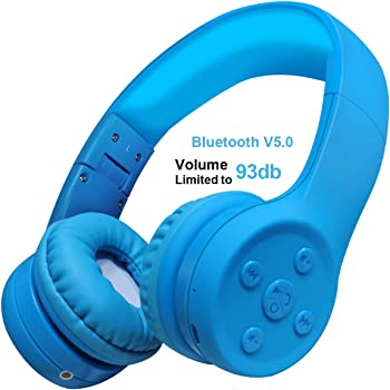 Yusonic Kids Bluetooth Headphones, up to 15 Hours Play, BT V5.0 Volume Limited Kids Wireless Headphone with Built-in Microphone for Cell Phones TV Toddler Tablet Game School Boys Girls (Blue 2