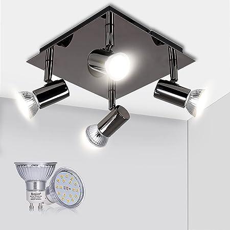 Bojim Luminaire Plafonnier LED 4 Spots Orientables Carré Moderne en Chrome Noir, 6W GU10 4500K Blanc Neutre AC220-240V IP20, Luminaire Plafond pour Salon Salle à Manger Cuisine, Ampoules Incluses