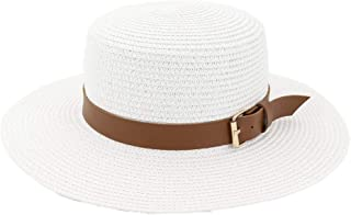 SHENTIANWEI New Women's Flat Wide Brim Tourism Vacation Beach Sun Hat Fedora Hat Belt Decoration Fashion Flat Top Sun Hat