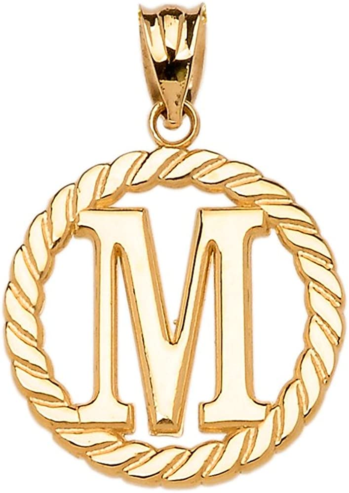 High Polish 10k Yellow Gold Roped Circle M Initial Charm Pendant
