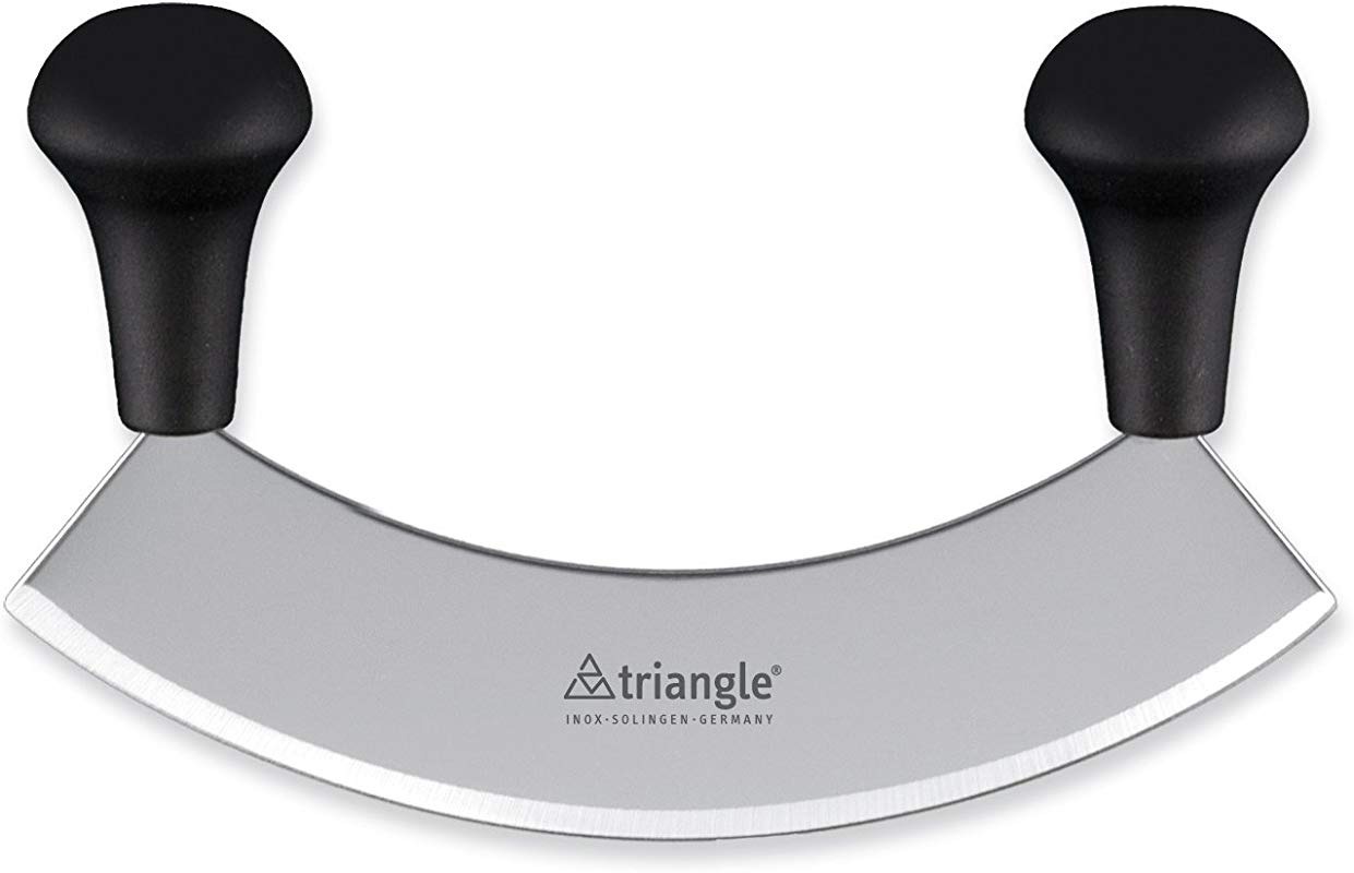 Triangle Germany Mezzaluna Knife 7 Inch Rust Free Stainless Steel Curved Blade Professional Grade Design With Ergonomic Handles For Efficient Chopping And Mincing