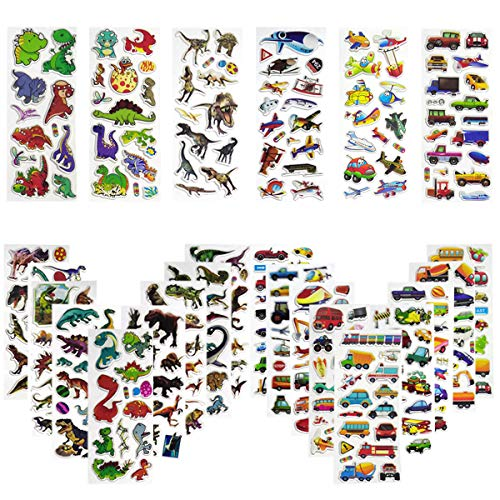 Vinclus 3D Stickers for Children, Fluffy Stickers, 550+ Kinds of Stickers for Kids Boys and Girls, For Rewards, Gifts, Cards, Books, Scrapbooks, Crafts, Including Cars Trucks and Dinosaurs