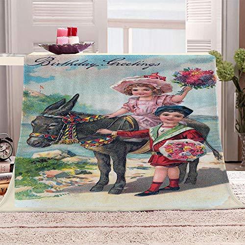 GFDFEYGF 3D Manta Franela Navidad Reversible niños Adultos Manta Supersuave, Súper cálida, Acogedoray Ligera,Cuidado fácil para sofá y Cama,150 * 200 cm Niña Montando un Burro