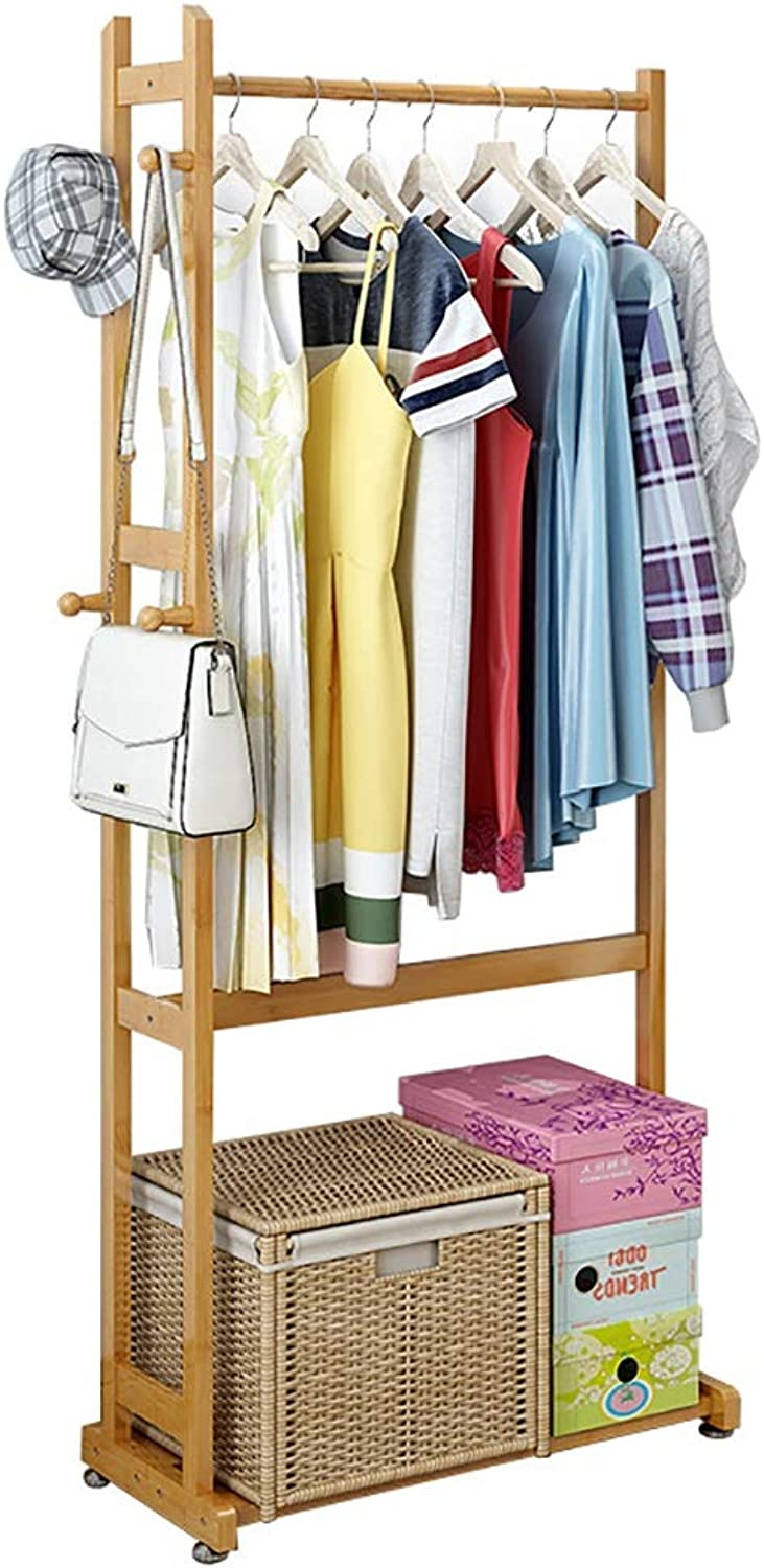 Coat Rack, Solid Wood Floor Coat Rack, Multi-Functional Clothes Storage Rack, Suitable for A Variety of Scenes, Height 162cm (Size   55  30  162cm)