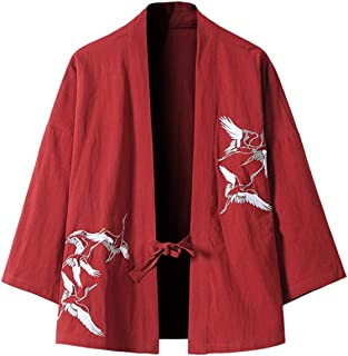 PRIJOUHE Men's Japanese Fashion Kimono Cardigan Plus Size Jacket Yukata Casual Cotton Linen Seven Sleeve Lightweight