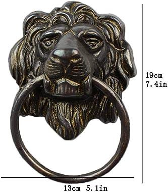 Lion Head Door Knocker.European Style Brass Pull Ring Door Fittings Hardware Front Door Wooden Door Patio Manor-Black
