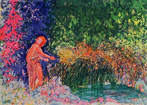 Aligi Sassu, Los papiros del estanque, 1989, Aguafuerte aguatinta firmada y numerada