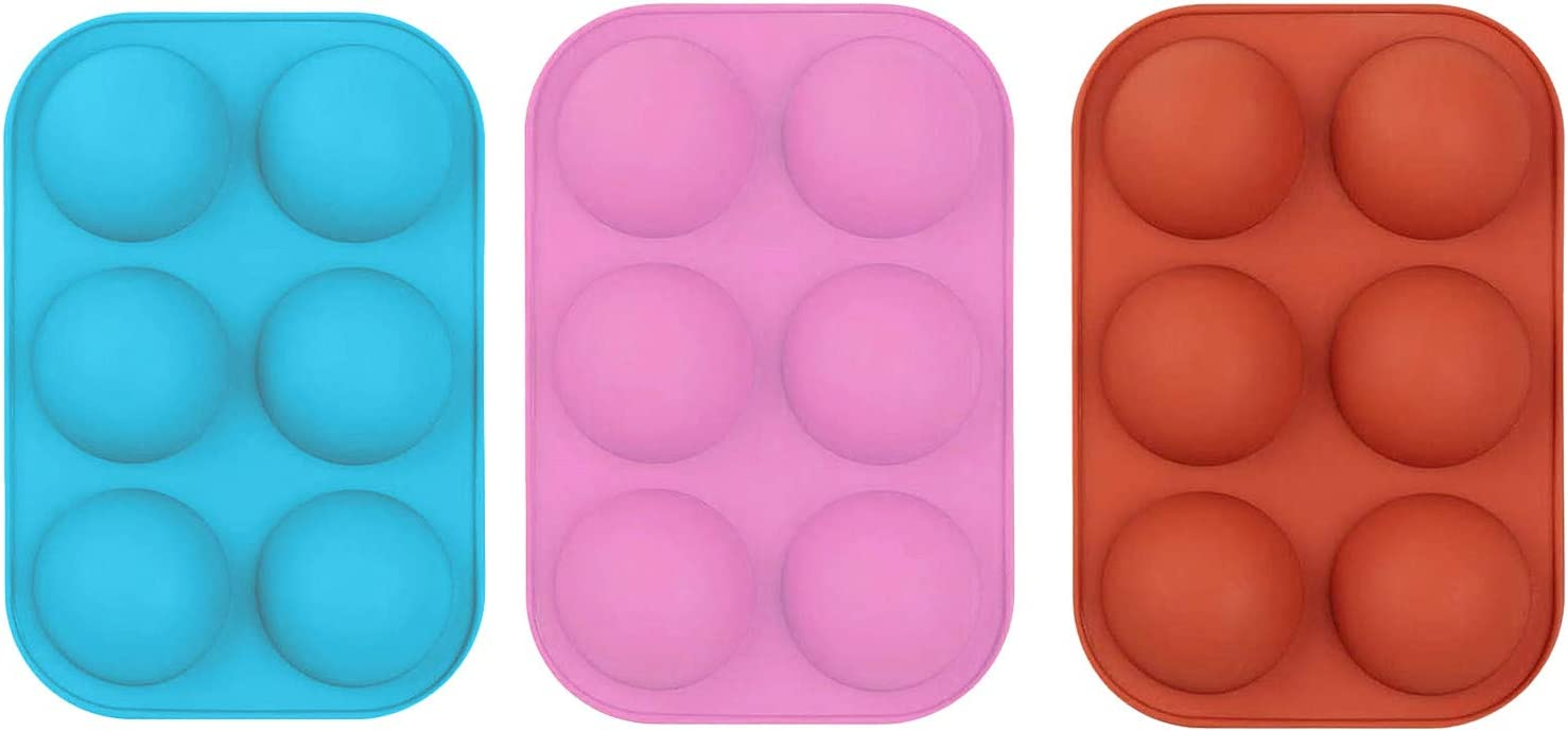 Cake Hot Chocolate Bomb Mold,Medium Semi Sphere Silicone Mold 1PC-Brick Red Baking Mold for Making Hot Chocolate Bomb Cocoa,Jelly,Dome Mousse