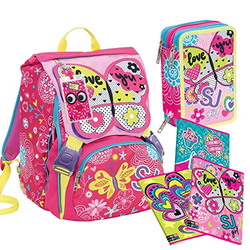 Schoolpack seven 6C2001903 zaino sdoppiabile sj gang girl rosa + astuccio 3 zip bambina 3C2011904 + 5 quaderni sj gang girl per elementari righe/quadretti