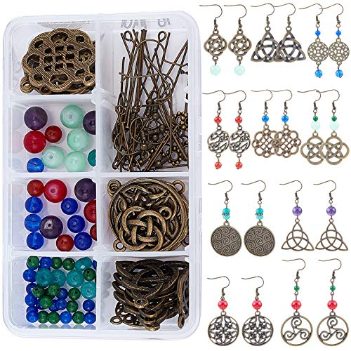 SUNNYCLUE 1 Box DIY 10 Pairs Trinity Celtic Knot Earrings Making Kits Alloy Connectors & Glass Beads & Brass Earring Hooks for DIY Jewelry Making Earring Accessories, Antique Bronze
