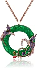 Exquisite Elegant Rose Gold Plated Double Phoenix Birds Round Pendant Chain Necklace