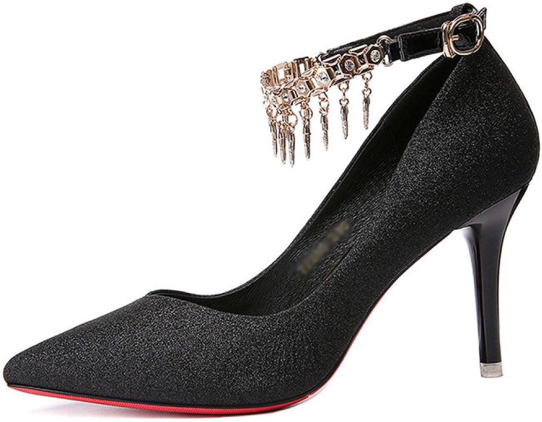 DKFJKI Lady Feine High Heels Spitzen Flachen Mund Mode Wild Funkelnd Party Schuhe