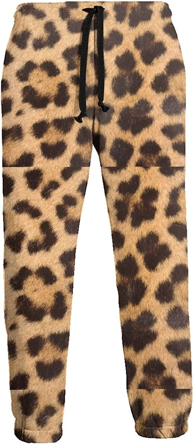 KAWAHATA Leopard Skin Pattern Men's Pants with Pockets Tapered Athletic Sweatpants 3D Casual Active Sports Pants