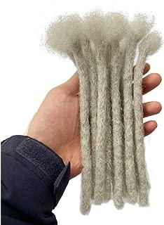 YONNA Human Hair Microlocks Sisterlocks Dreadlocks Extensions 20Locs Full Handmade (Width 0.4cm) 8inch #Grey