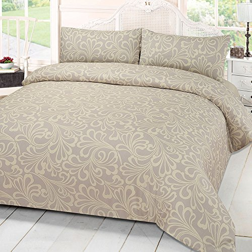 Dreamscene Mayfair Damask Duvet Bedding Set With Pillowcases, Cream, King